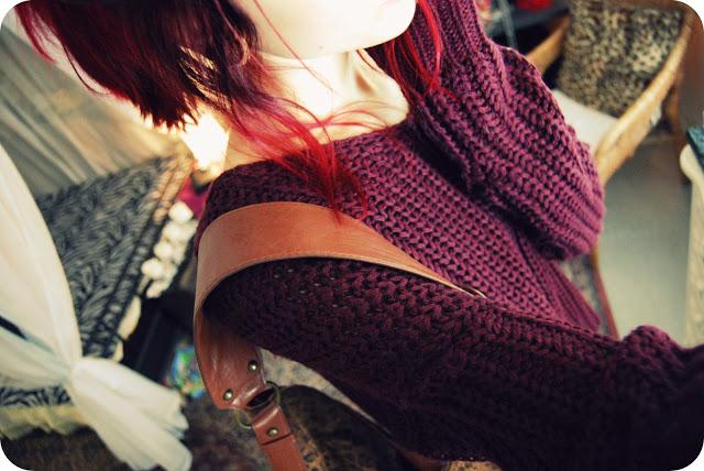 Girl In A Bordeaux Sweater