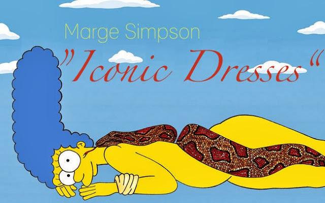 "Marge Simpson presents ""Iconic Dresses"""